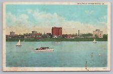 Baton Rouge Louisiana~Skyline Of City From Across Lake~Boats~Vintage Postcard
