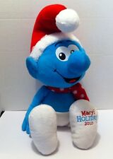 "Plush Peyo Macys 2010 Christmas Holiday Smurf W/Scarf Hat Large 21"" Cp"