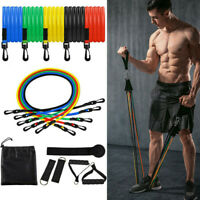 11 PCS Yoga Pilates Resistance Bands Abs Exercise Fitness Tube Workout Bands Set