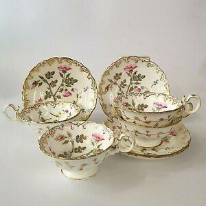 Antique Coalport Set of Four Tea Cups and Saucers 3/128 Artist J Pattern