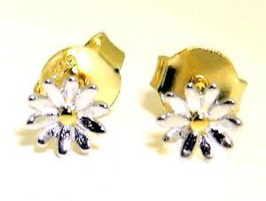 SILVER DAISY EARRINGS 925 STERLING SILVER  YELLOW GOLD   FLOWER  5mm STUD