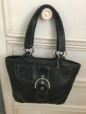 Coach Soho Classic Hobo Handbag Purse with Buckle Flap Black Leather