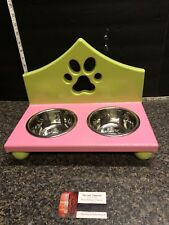 Green & Pink Wooden Double Bowl Holder Includes Stainless Steel 1 Pint Bowls .