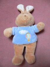 Doudou GIPSY lapin marron pull bleu nuage mongolfière