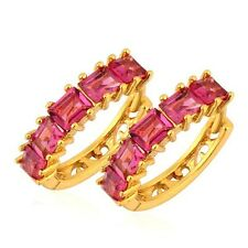 Perfect Gold Filled Red CZ Girl Round Circle Gold Shining Huggie Hoop Earrings