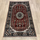 YILONG 3'x5' Hand Knotted Silk Porch Carpet Red Home Decor Floral Rug Y474C