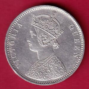 BRITISH INDIA 1862 {1/2 DOTS} VICTORIA QUEEN ONE RUPEE RARE SILVER COIN #L55