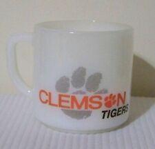 Clemson Tigers Red Lobster Federal Milk Glass Mug Cup Vintage HTF Paw Logo