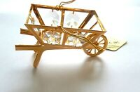 Figurine-WHEEL BARREL 24K gold plated- Austrian Crystals-clear
