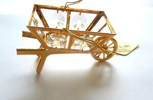 Figurine- WHEEL BARREL 24K gold plated- Austrian Crystals-clear