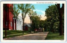BURLINGTON, Vermont  VT    COLLEGE ROW  ca 1940s Linen  Postcard