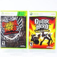 Guitar Hero Warriors of Rock & World Tour Xbox 360 Game Lot Set Bundle Of 2