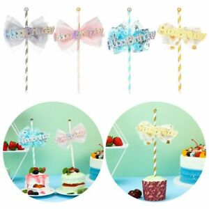 Shower Star Bow Fairy Stick Glitter Happy Birthday Cupcake Plug-in Cake Toppers