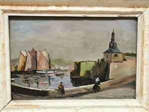 Ancien Tableau / Huile sur Bois signée . Paysage Port breton Bretagne