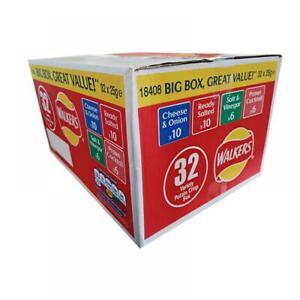 Walkers Variety Box Crisps, (32 x 25g), Cheese Onion, Ready Salted, Salt Vinegar