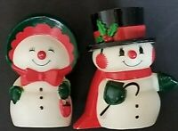 VINTAGE HALLMARK CHRISTMAS HAPPY & MERRY SNOWMAN Salt & Pepper Shakers