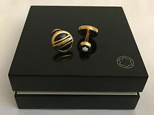 MontBlanc Precious Collection Cufflinks Round 18 kt. Red Gold 3 Ring With Onyx