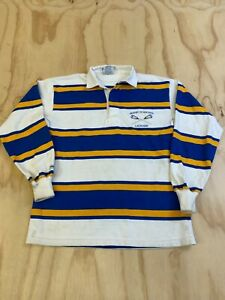BARBARIAN RUGBY WEAR MEN SIZE MEDIUM BLUE & YELLOW STRIPED UNH RUGBY POLO SHIRT