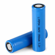 18650 3.2V Battery 1500mAh LiFePO4 Lithium Rechargeable with Tabs+Charger+Holder