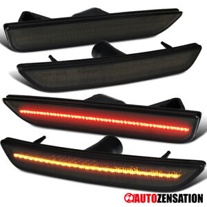For 2010-2014 Ford Mustang LED Front+Rear Smoke Side Marker Lights Signal Lamps