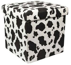 Ottoman Cow Print Pouffe Storage Box Can be Sat On up to 150kg