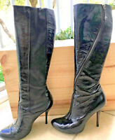 ALEXANDER McQUEEN black shiny leather tall knee high spike heel boots 37.5
