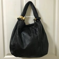 Pre Owned Authentic Jimmy Choo Black Leather Hobo Shoulder Bag