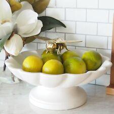 Balmoral Footed Bowl Scallop Ceramic White W28.5cm Hamptons Coastal Home Decor ©