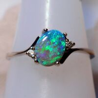 925 Silver Green Fire Opal Gemstone Jewelry Wedding Engagement Ring Size 5-11