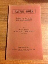 PATROL WORK by John S R Parkhurst North London Scout Troop Scout Paperback