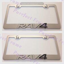 2X Toyota RAV4 Emblem Stainless Steel License Plate Frame Rust Free W/ Boltcap
