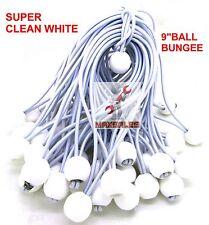 "(100) 9"" White Ball BUNGEE Cord Tarp Bungee Tie Down Strap Bungi Canopy Straps"