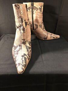 Isaac Mizrahi Shoe Booties - Pink/Gray Snakeskin High Heel - Excellent - 8.5 M