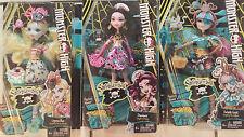 Monster High Set of 3 Shriekwrecked Lagoona,Draculaura,Rochelle, 6+ New