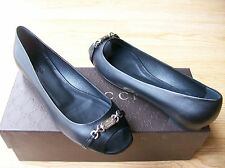 $550 Gucci Shoes Nameplate Logo Flats Black Leather Peep Toe sz 38.5 US 9 NIB