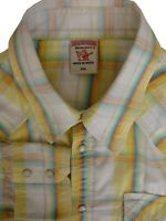 TRUE RELIGION Shirt Mens 17.5 XL Yellow - Multi-Coloured Check POPPERS