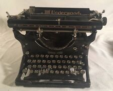 Vintage 1929 UNDERWOOD Black Steel Standard Typewriter with Original Dust Cover
