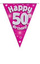 50TH BIRTHDAY PARTY BUNTING BANNER PINK HOLOGRAPHIC 11 FLAGS 3.9M
