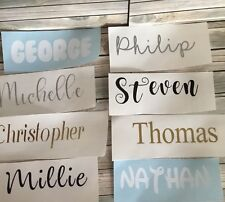 10 X PERSONALISED CUSTOM NAME VINYL STICKERS DECALS. 22 FONTS AND COLOURS