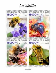 Guinea Bees Stamps 2021 MNH Carpenter Honey Bee Insects 4v M/S