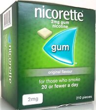 210 NICORETTE ORIGINAL FLAVOUR GUM 2mg NICOTINE use by date 05 /2020