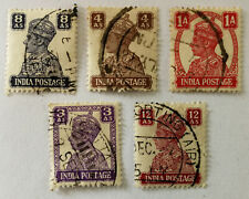 India King George VI 1A, 3AS, 4AS, 8AS & 12AS Stamps 1941
