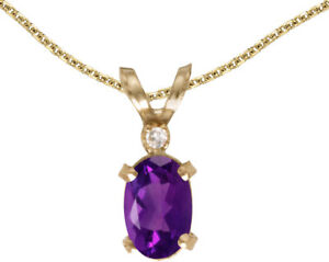 14k Yellow Gold Oval Amethyst And Diamond Filigree Pendant (Chain NOT included)