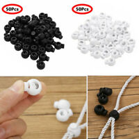 50Pcs_Toggle Spring Loaded Elastic Rope Cord Locks Clip Ends Stopper Buttons New