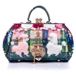 Irregular Choice Party Poodle Bag Green Blue Purple Dog Handbag