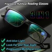 Progressive Multifocal Presbyopia Eyeglasses Anti Blue Blocking Reading Glasses~