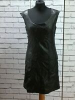 Vintage 90s Black Genuine Leather Wiggle Dress M