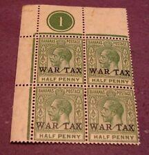 Bahamas Stamp Scott# MR1 War Tax Blk. of 4 MNH 1918 C293