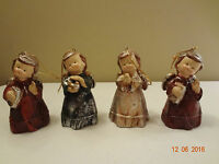 Vintage Ceramic Angel Bell Christmas Ornaments Christmas Decorations - lot of 4