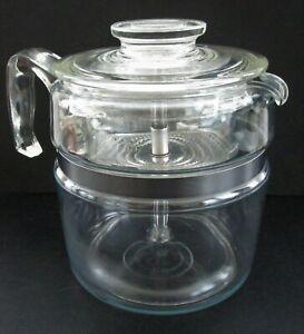 Vintage Corning Glass Coffee Maker Stove Top Percolator Inventory #M1198